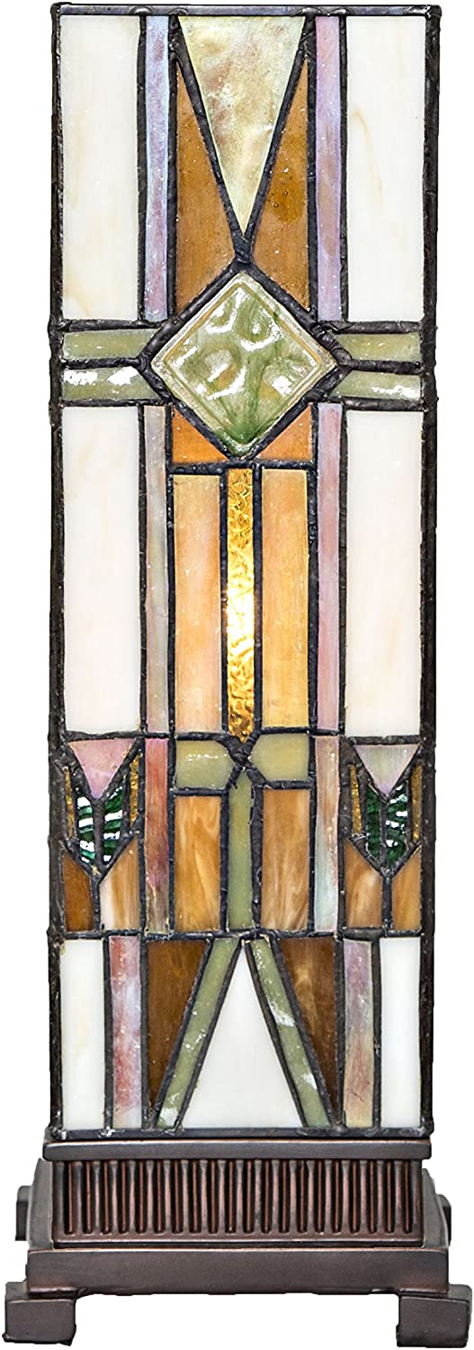 14  Stained Glass Mission Style Hurricane Accent Lamp