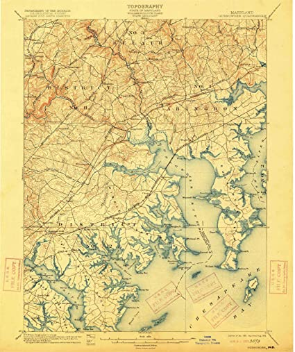1:62500 Scale Historical 20.2 x 16.4 in 1893 Updated 1896 15 X 15 Minute YellowMaps Gunpowder MD topo map
