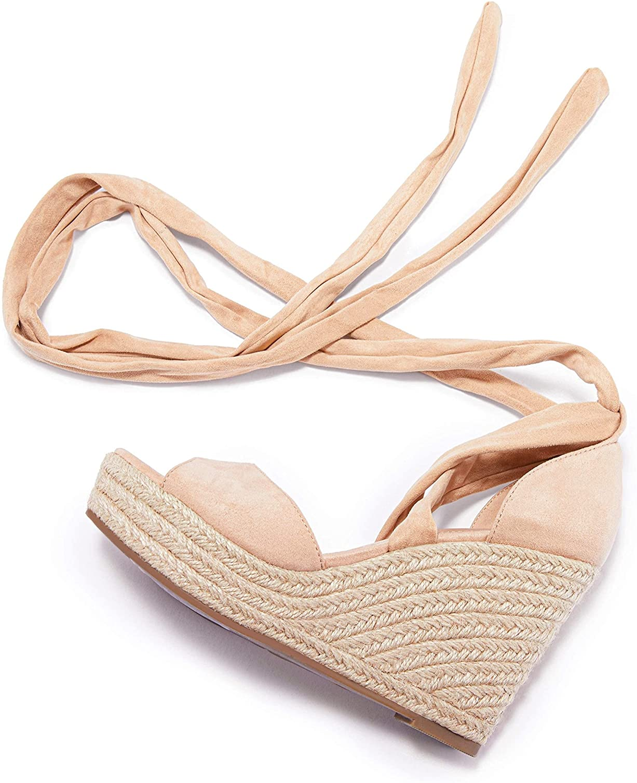 Huiyuzhi Womens Lace Up Albuquerque Mall Platform Espadrille Open Wedge Sandals T Selling