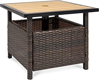 Best Choice Products Wicker Patio Umbrella Stand Table with Umbrella Hole, Outdoor Furniture for Garden, Pool, Deck w/ UV Resistant Frame - Brown