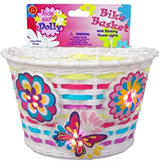 Ride Along Dolly Bike Basket with Lightups - Kid's Bicycle Basket with Three Motion Activated Blinking Flowers