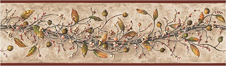 York Wallcoverings Best Of Country HK4669BD Caroline Vine Border, Khaki