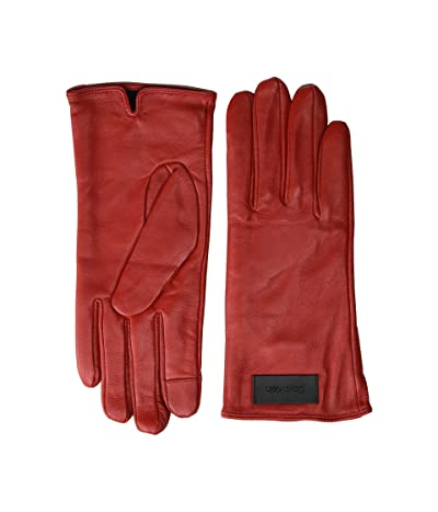 Calvin Klein Basic Leather Touch Gloves (Process Red) Over-Mits Gloves