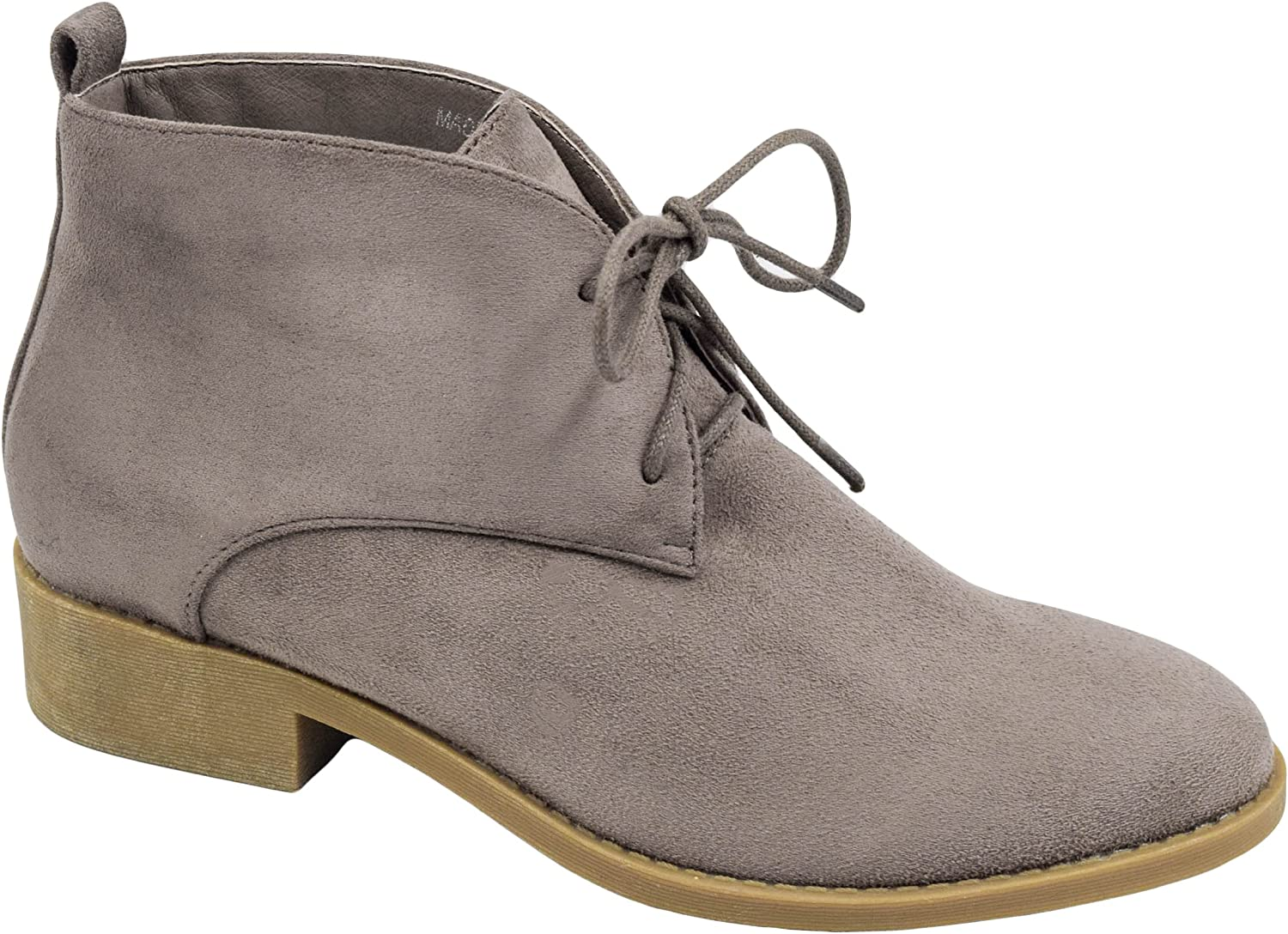 MaxMuXun Women shoes Faux Suede Lace-up Booties Ankle Desert Boots