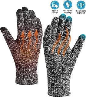 Winter Gloves for Women Men Touch Screen Warm Knit Gloves – Anti-Slip Silicone Gel,..