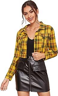 ROMWE Women's Plaid Lightweight Jacket Button Up Lapel Cotton Preppy Crop Coat Blouse