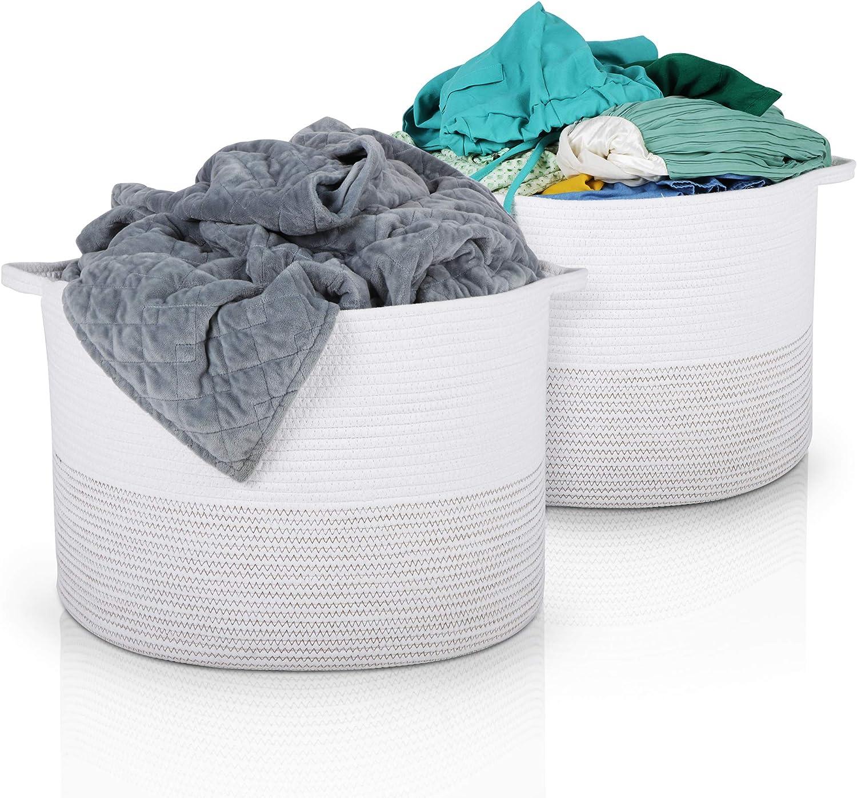 Hamps XXL Woven Basket   Set of 2 Cotton Rope Baskets   22 x 22 x 14   Laundry Basket, Blanket Storage Baskets, Dog Toy Basket, Baby Toy Storage Bins, Large Laundry Hamper, Toy Box, Kids Storage Bin