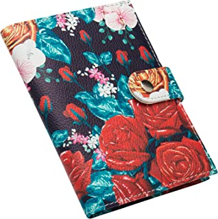 ZONGSHU Passport Holder Cover Wallet, Rose Flower Patten Travel Luggage Passport Wallet with PU Leather