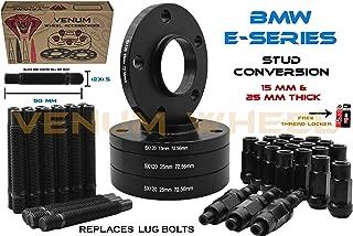 (2) 15mm + (2) 25 mm Black Wheel Spacers Staggered Kit + Black 12x1.5 Racing Stud & Racing Lug Nuts Free Thread Locket Included   Compatible with BMW 323ci, 323i, 325ci, 325i, 325xi, 3328ci, 328i, 330