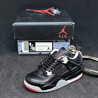 Air jordan IV 4 Retro Bred Black Red Sneakers Shoes 3D Keychain Figure 1:6 + Shoe Box