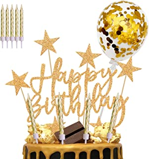 iZoeL Decoration Gateau Anniversaire Homme Or, Déco Gateau Fille Ballon Bougie Or, Déco Gateau Happy Birthday Coeurs Étoil...
