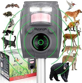 DURANOM Ultrasonic Wild Animal Repeller Outdoor - Cat Deer Repellent Solar Powered - Motion Sensor Activated Flashing Ligh...