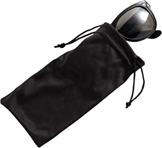 Eyeglass Pouches - 20-Pack Microfiber Drawstring Sunglass Bags- Fits Large Smartphones, Black, 7 x 3.3 Inches
