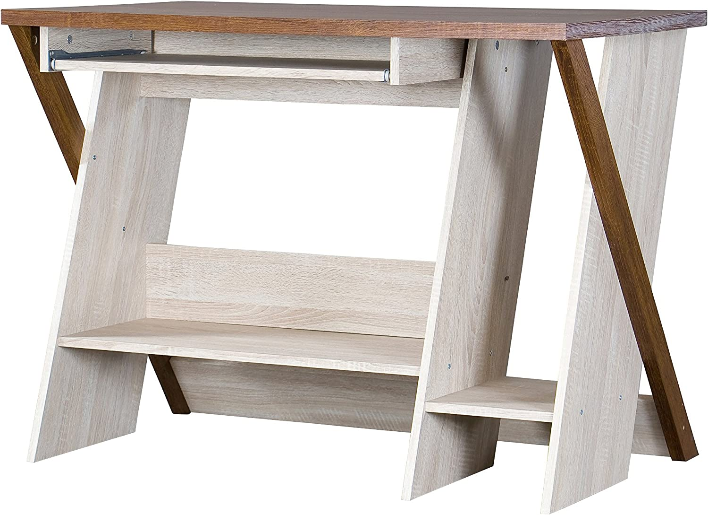 Baxton Studio Rhombus Writing Desk, 23.2Lx39.5Wx29.25H, Natural Dark Brown