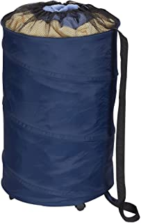 Household Essentials 2030 Pop-Up Laundry Hamper on Wheels with Drawstring Closure | Shoulder Strap to Carry Clothing | Blue