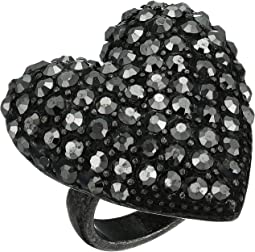 Metallic Rhinestone Caviar Heart Ring