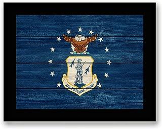 Art Hub US Air National Guard Emblem Canvas Print - Framed - Military Canvas Print Wall Decor, Black Real Wood Frame, 7x9