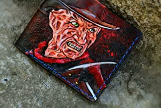 Men's 3D Genuine Leather Wallet, Hand-Carved, Hand-Painted, Leather Carving, Custom wallet, Personalized wallet, Freddy Krueger, A Nightmare on Elm Street