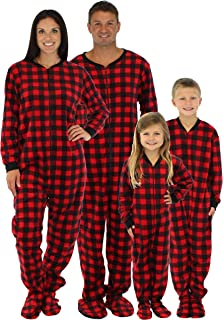 SleepytimePjs Family Matching Red Plaid Fleece Onesie PJs Footed Pajamas 149b72ab8