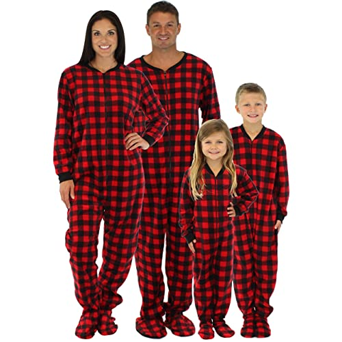 a833340d6 SleepytimePjs Family Matching Red Plaid Fleece Onesie PJs Footed Pajamas