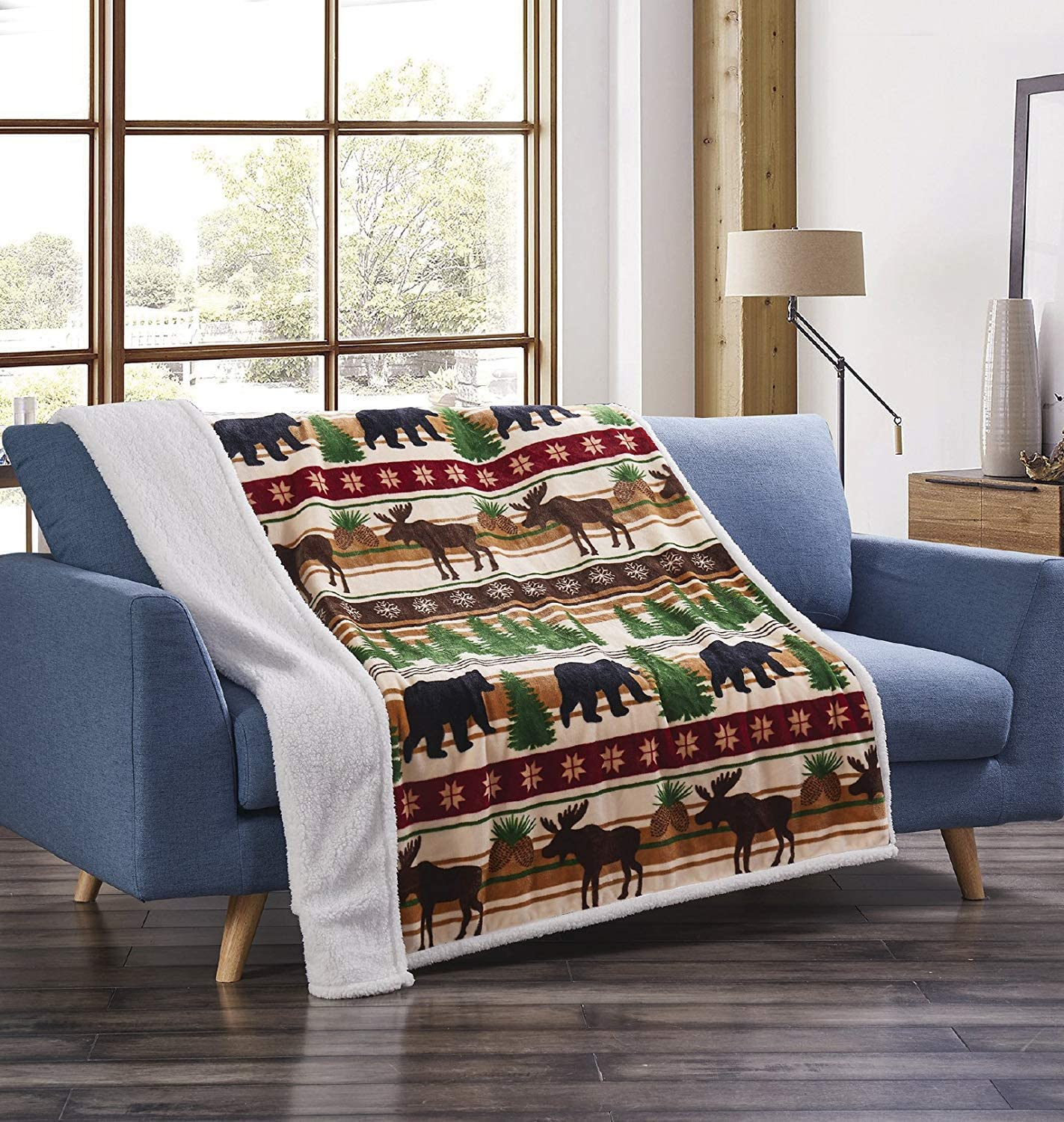 Virah Bella Christmas Max 59% OFF Wilderness Bear Throw Recommendation and Flannel Deer wit