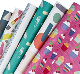 WRAPAHOLIC Gift Wrapping Paper Sheet - Colorful Geometric, Ice Cream Birthday Design for Birthday, Baby Shower, Holiday, Wedding, Mother's Day - 6 Sheets - 17.5 inch X 30 inch Per Sheet