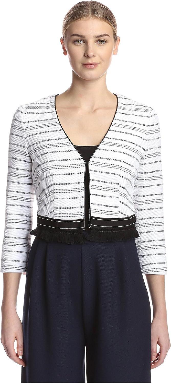 Beatrice B. Women's Striped Jacket with Fringe
