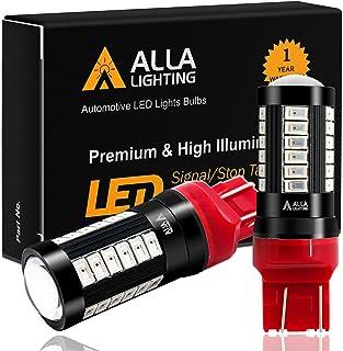 Alla Lighting 2800lm T20 Wedge 7440 7443 LED Bulbs, Red Brake Tail Lights/Turn Signal Blinker Lamps 7444 7440LL 7443LL Xtr...