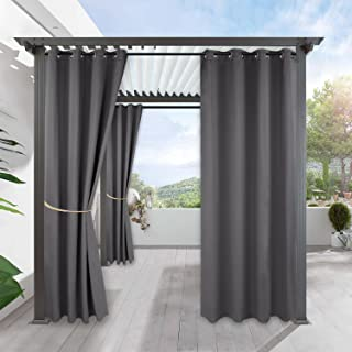 RYB HOME Extra Long Outdoor Pergola Curtains, Patio Window Curtains Sunlight Block Out Privacy Panel for Pool Hut Backyard Front Porch Sun Room Deck, 1 Piece, Width 52 by Length 108 inch, Grey