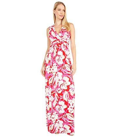 Vince Camuto Printed Jersey Wrap Front Maxi (Pink Multi) Women