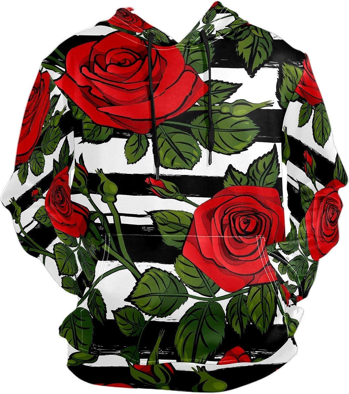 Men's Sport Hoodie Vintage Rose Black White Striped Big and Tall Hoodies for Men Women Oversized Hooded Sweatshirt Hip Hop Pullover Hoodie Midweight Hood for Boys Girls