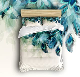 Anzona 4 Piece Bedding Set Lightweight Microfiber Duvet Cover Sets, Artistic Hand Painted Peacock Feathers Design, Comfortable Breathable and Soft Comforter Cover Set for Children/Kids/Teens/Adults