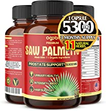 Premium Organic Saw Palmetto Capsules 5300 mg, Highest Potency with Ashwagandha, Turmeric, Tribulus and Maca, Natural Pros...