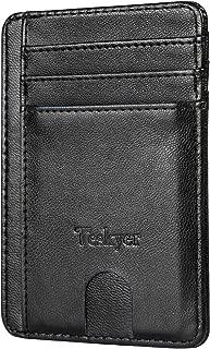 Teskyer Slim Minimalist Front Pocket RFID Blocking Leather Wallets Credit Card Holder for Men Women