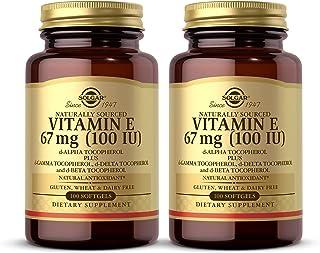 Solgar Vitamin E 67 mg (100 IU), 100 Mixed Softgels - Pack of 2 - Natural Antioxidant, Skin & Immune System Support - Natu...