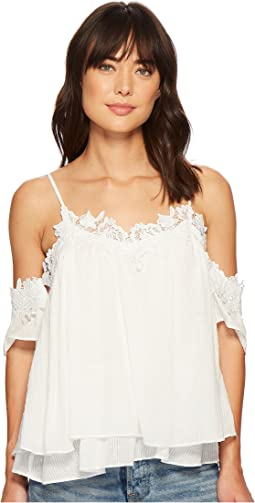 Miss Me Lace Floral Open Shoulder Top