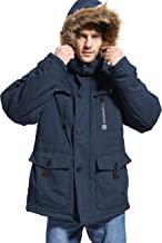 Yozai Mens Winter Parka Insulated Warm Jacket Military Coat Faux Fur with Pockets and Detachable Fur Hood