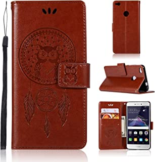 Absorption Bumper Cover Owl Embossed Pattern Cover Case PU Leather Wallet Case For Huawei P8 LITE 2017 Protective Cell Phone Cases (Color : Brown)