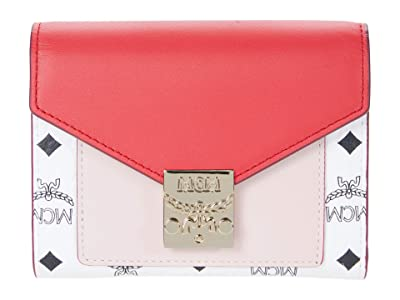 MCM Patricia Visetos Leather Block Flap Wallet/Two-Fold Small (Chinese Red) Handbags