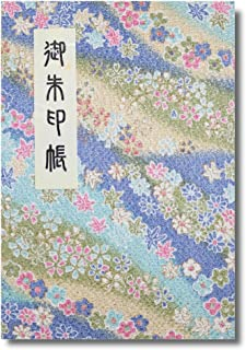 御朱印帳 40ページ 蛇腹式 ビニールカバー付 法徳堂オリジナルしおり付 ちりめん 水色