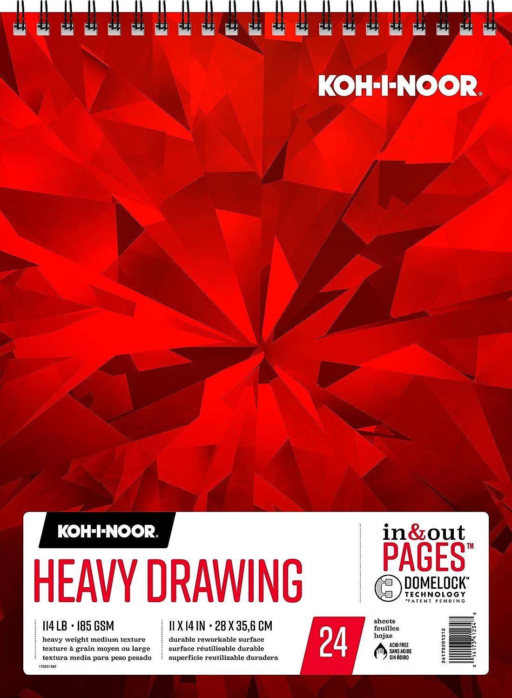 Koh-I-NOOR Heavy Zeichnungen weiß Papier Papier Papier Pad mit in und out Seiten, 90LB 147 GSM, 14 x 21,6 cm Top wire-bound, 24 Blatt pro Pad (26170200412) Zeichenpapier, schwer 11 x 14 Inches weiß B072Q28CXQ | Neu  270cda