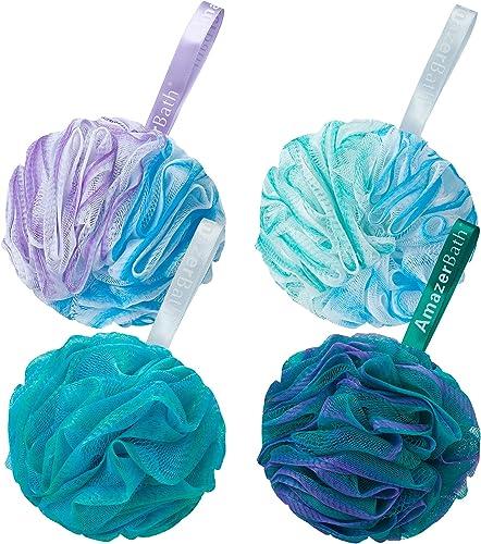 AmazerBath Shower Bath Sponge Shower Loofahs Balls 75g/PCS for Body Wash Bathroom Men Women- Set of 4 Flower Color Sp...