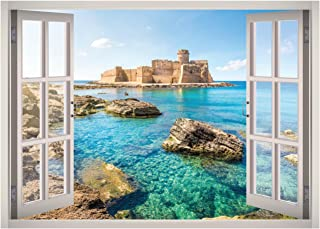 Calabria Italy View Window 3D Wall Decal Art Removable Wallpaper Mural Sticker Vinyl Home Decor West Mountain W121 (SMALL...