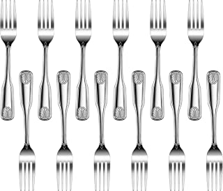 New Star Foodservice 58284 Shell Pattern, Stainless Steel, Dinner Fork, 7.7-Inch, Set of 12