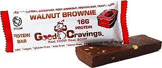 Good Cravings Whole Food Vegan Protein Bar, Walnut Brownie, 16g Plant Based Protein, Raw, No Added Sugar, Dairy Free, Glut...