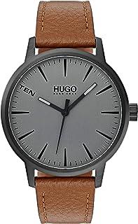 Hugo Boss Men'S Grey Dial Brown Leather Watch - 1530075