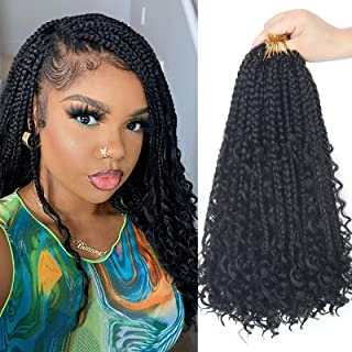Goddess Box Braids Crochet Hair With Curly Ends 14 Inch Bohomian Box Braids Crochet Braids 8 Packs 3X Crochet Braids Synth...