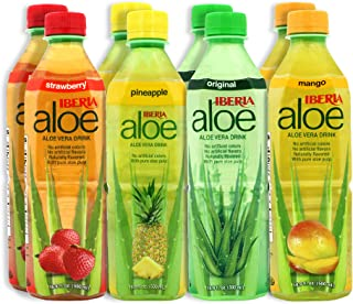 Iberia Aloe Vera Drink with Pure Aloe Pulp, Variety, (Pack of 8) 2 x Original, 2 x Mango, 2 x Pineapple, 2 x Strawberry