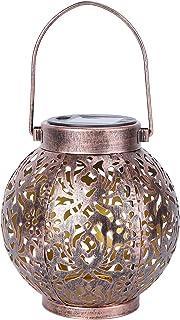 OSALADI Solar Lanterns Outdoor Solar Hanging Lights Garden Decorative Metal Table Lamp for Patio Balcony Courtyard Party D...