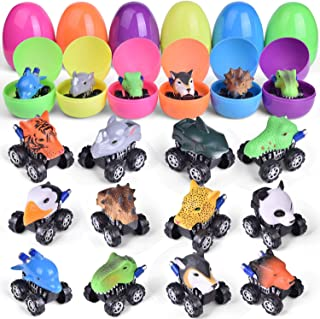 12 PCs Pull Back Cars Filled Easter Eggs with Assorted Animal Toys, Toy Car Easter Basket Stuffers for Kids Party Favors, Easter Eggs Hunt